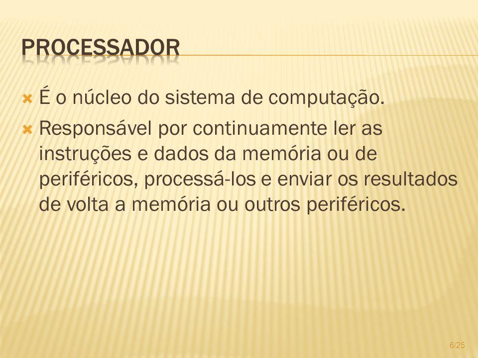Processador É o núcleo do sistema de computação.
