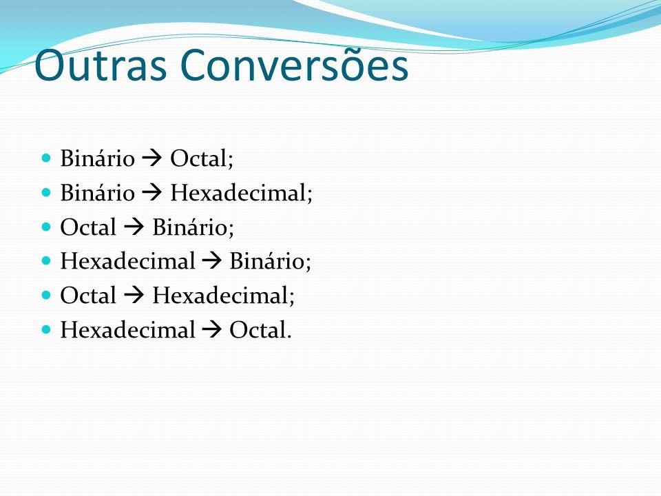 Outras Conversões Binário  Octal; Binário  Hexadecimal;