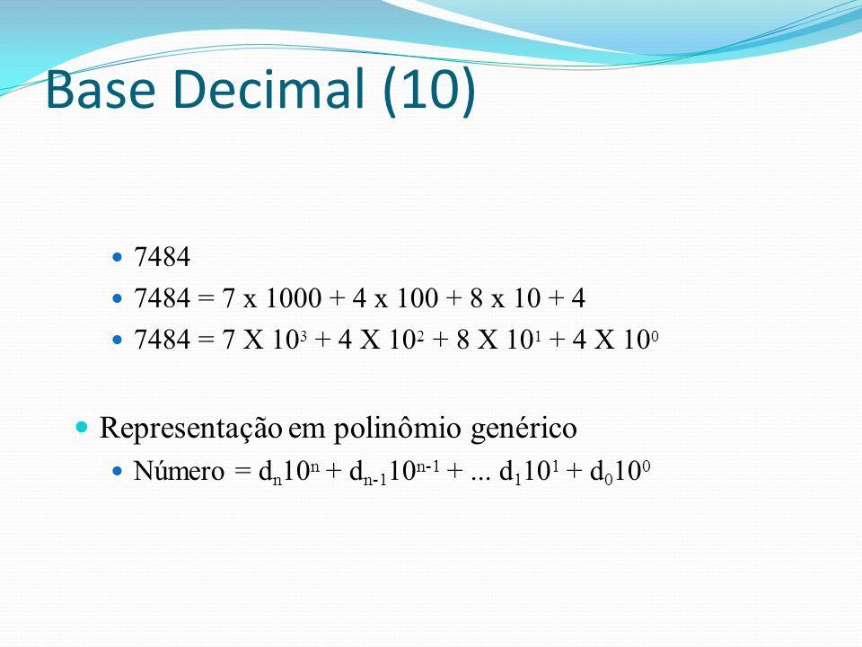 Base Decimal (10) Representação em polinômio genérico 7484