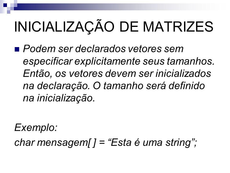 INICIALIZAÇÃO DE MATRIZES