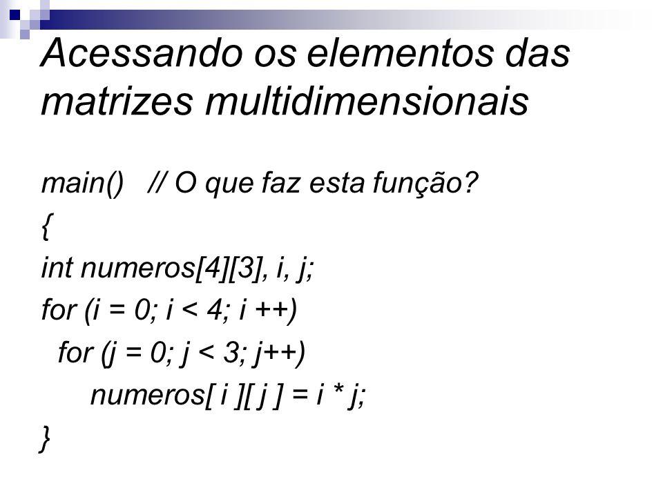 Acessando os elementos das matrizes multidimensionais
