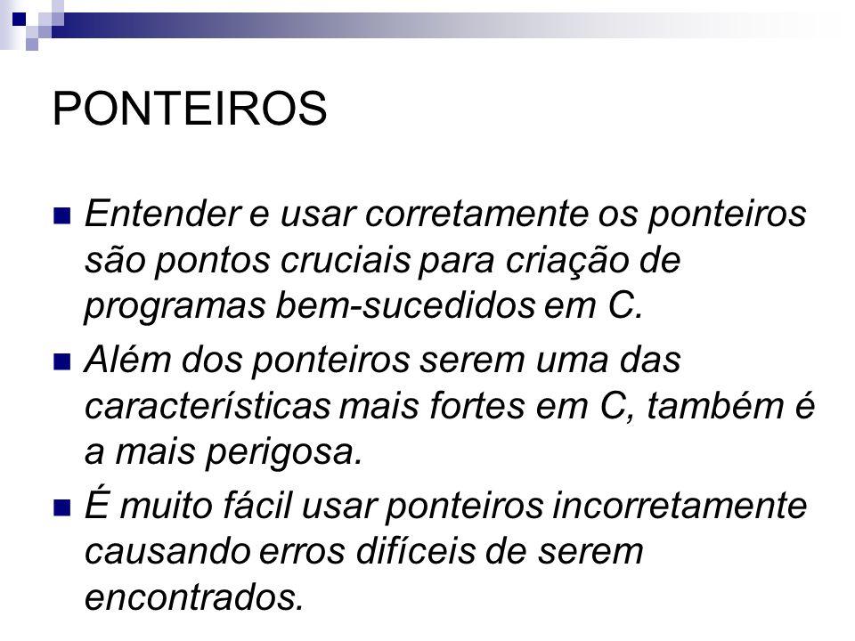 PONTEIROS Entender e usar corretamente os ponteiros são pontos cruciais para criação de programas bem-sucedidos em C.