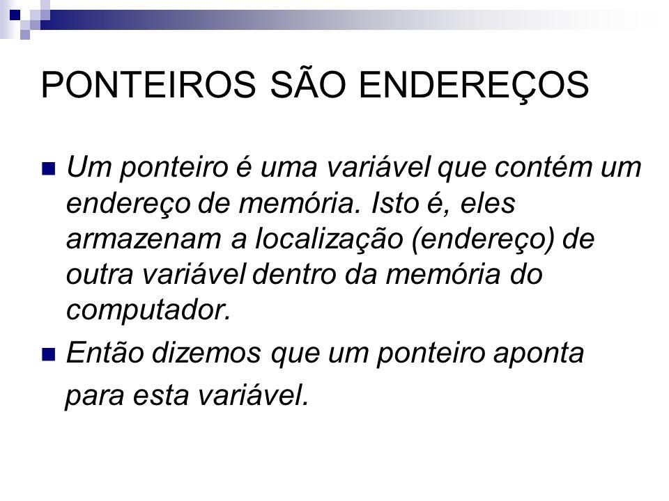 PONTEIROS SÃO ENDEREÇOS
