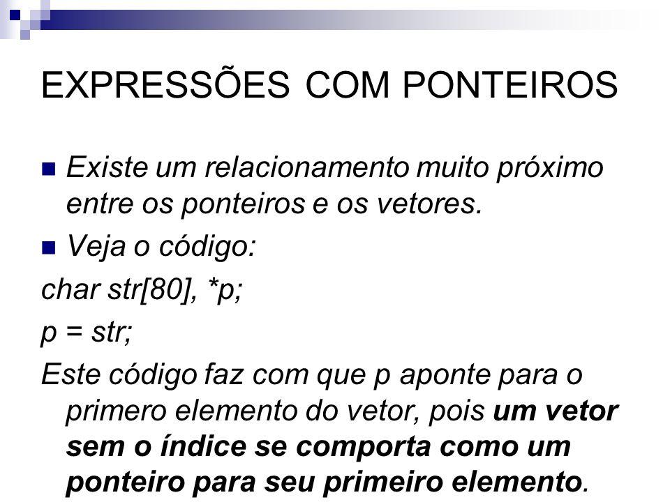EXPRESSÕES COM PONTEIROS