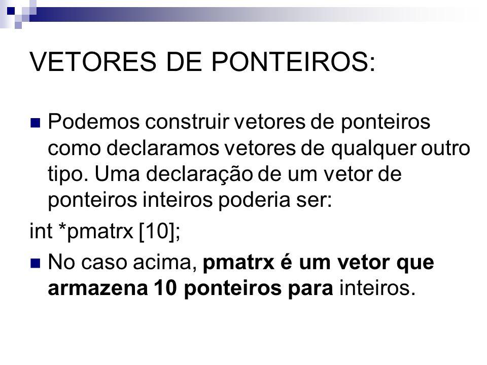 VETORES DE PONTEIROS: