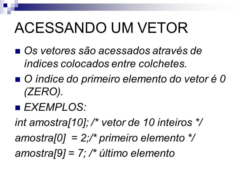 ACESSANDO UM VETOR Os vetores são acessados através de índices colocados entre colchetes. O índice do primeiro elemento do vetor é 0 (ZERO).