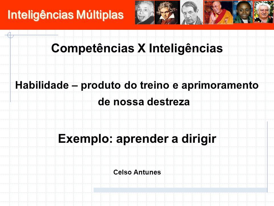 Competências X Inteligências Exemplo: aprender a dirigir