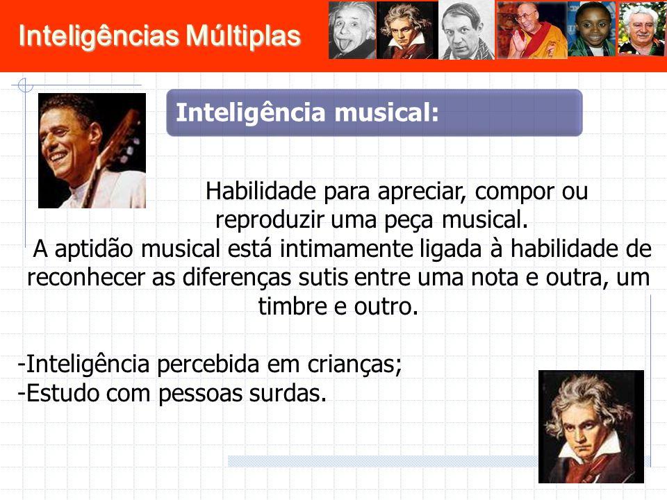 Habilidade para apreciar, compor ou reproduzir uma peça musical.
