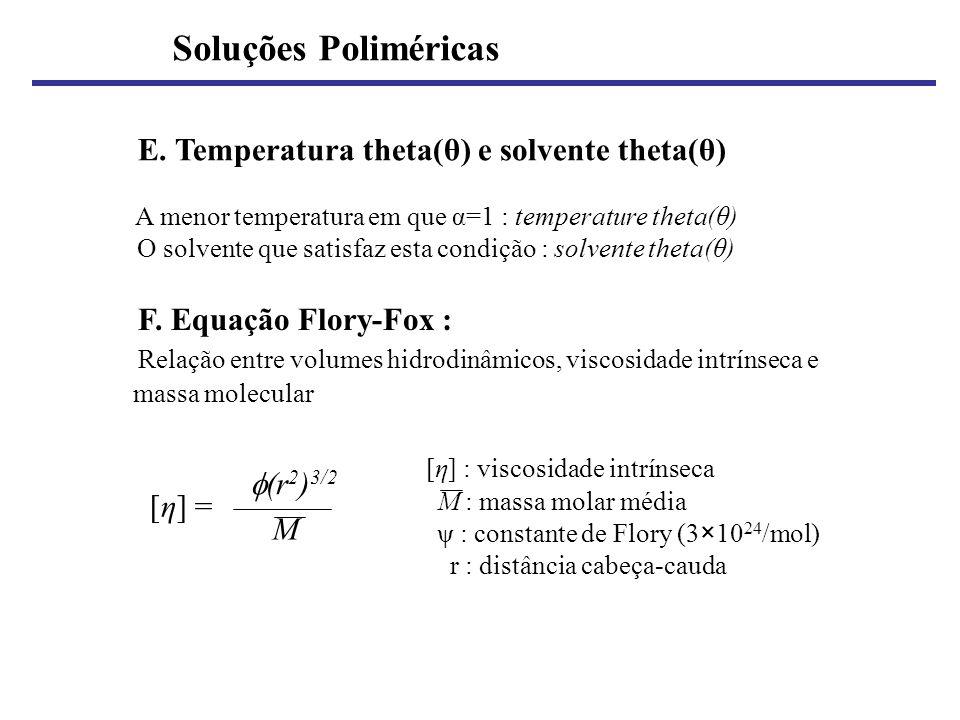 Soluções Poliméricas E. Temperatura theta(θ) e solvente theta(θ)