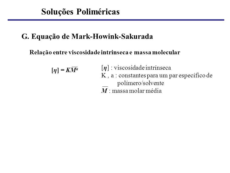 Soluções Poliméricas G. Equação de Mark-Howink-Sakurada