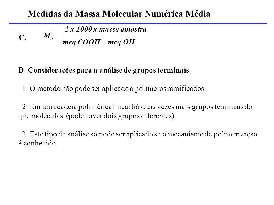 Medidas da Massa Molecular Numérica Média