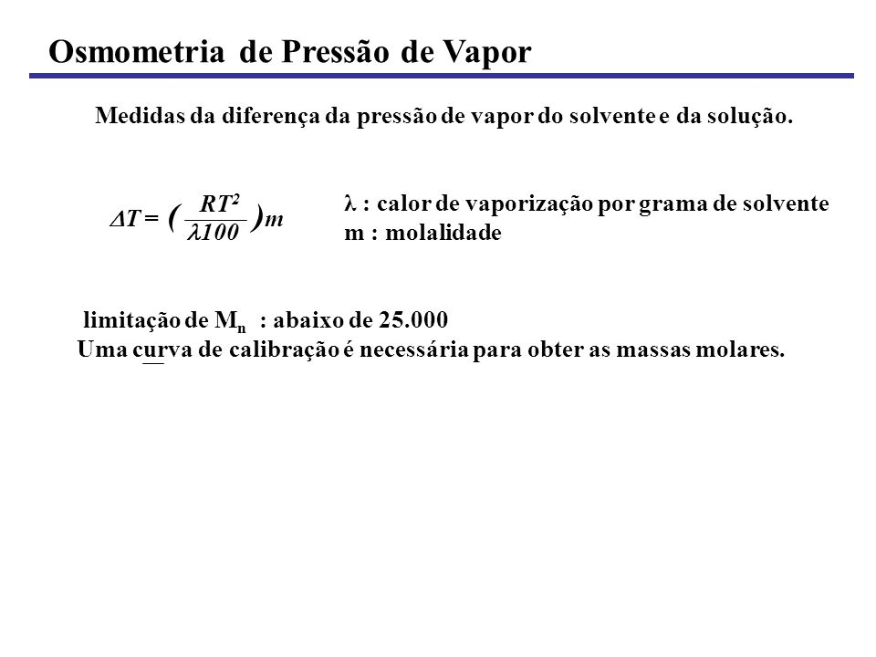 Osmometria de Pressão de Vapor