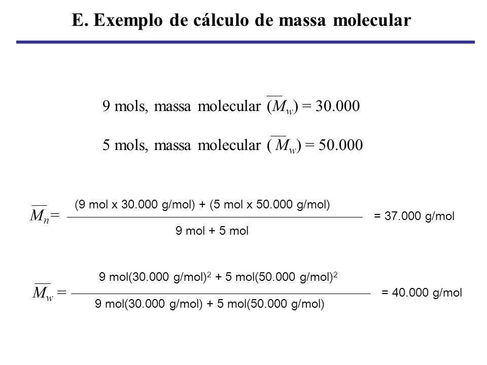 E. Exemplo de cálculo de massa molecular