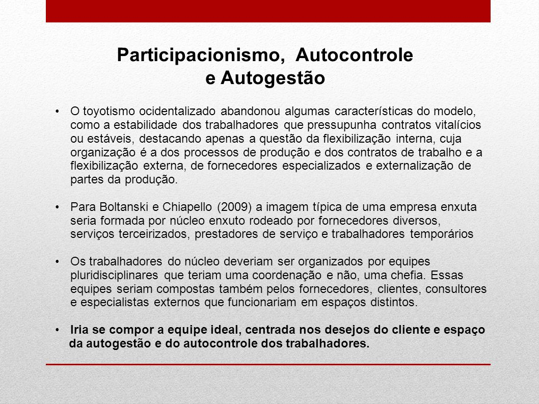 Participacionismo, Autocontrole