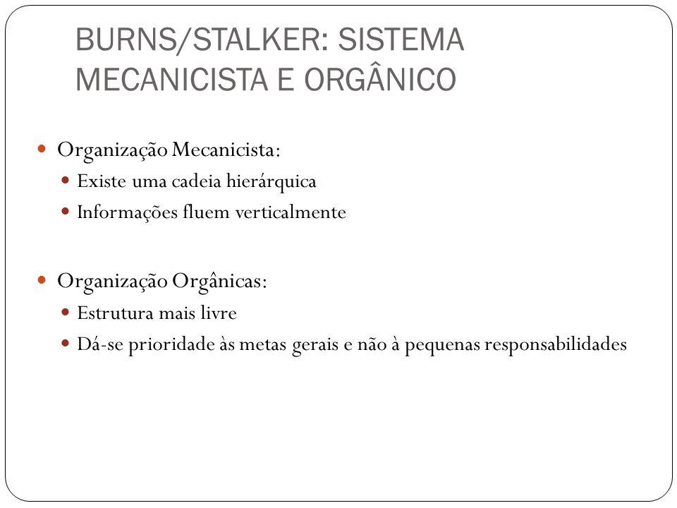 BURNS/STALKER: SISTEMA MECANICISTA E ORGÂNICO