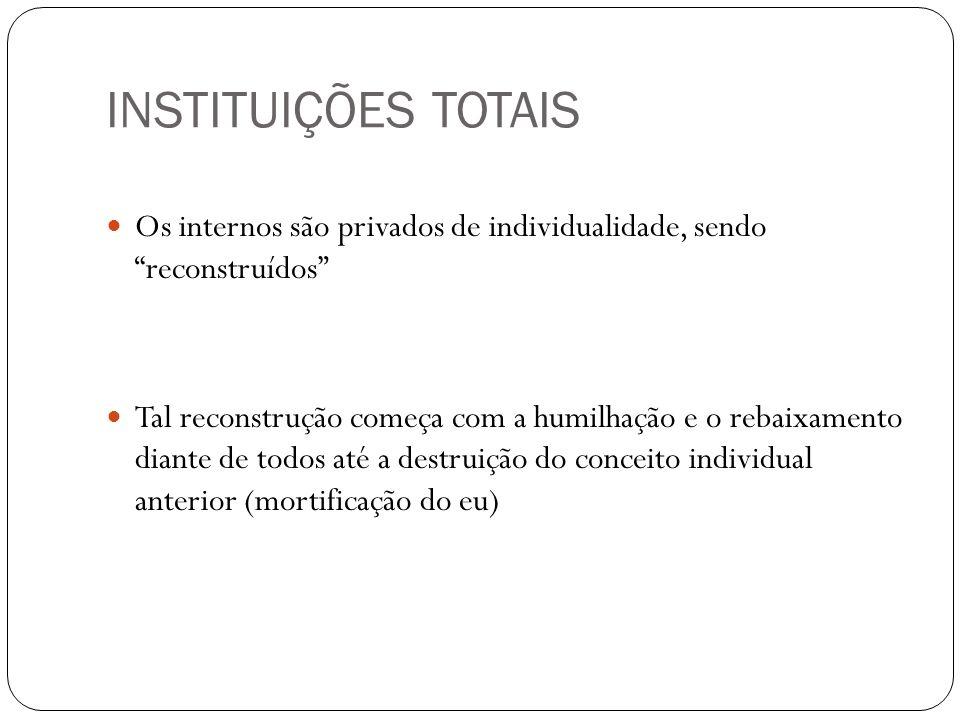 INSTITUIÇÕES TOTAISOs internos são privados de individualidade, sendo reconstruídos