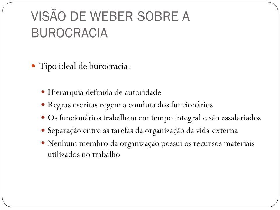 VISÃO DE WEBER SOBRE A BUROCRACIA