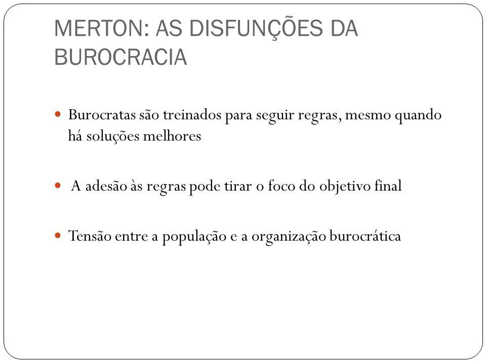 MERTON: AS DISFUNÇÕES DA BUROCRACIA