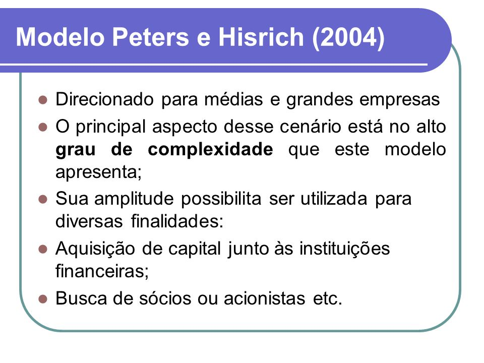 Modelo Peters e Hisrich (2004)