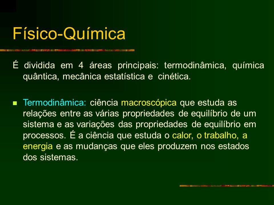 Físico-QuímicaÉ dividida em 4 áreas principais: termodinâmica, química quântica, mecânica estatística e cinética.