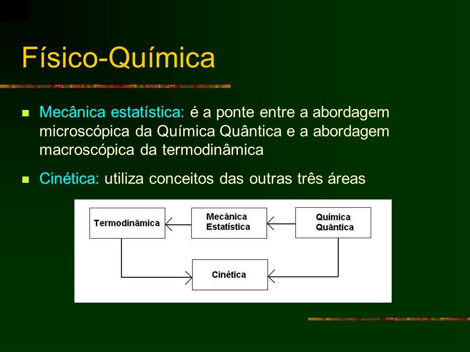 Físico-Química Mecânica estatística: é a ponte entre a abordagem microscópica da Química Quântica e a abordagem macroscópica da termodinâmica.