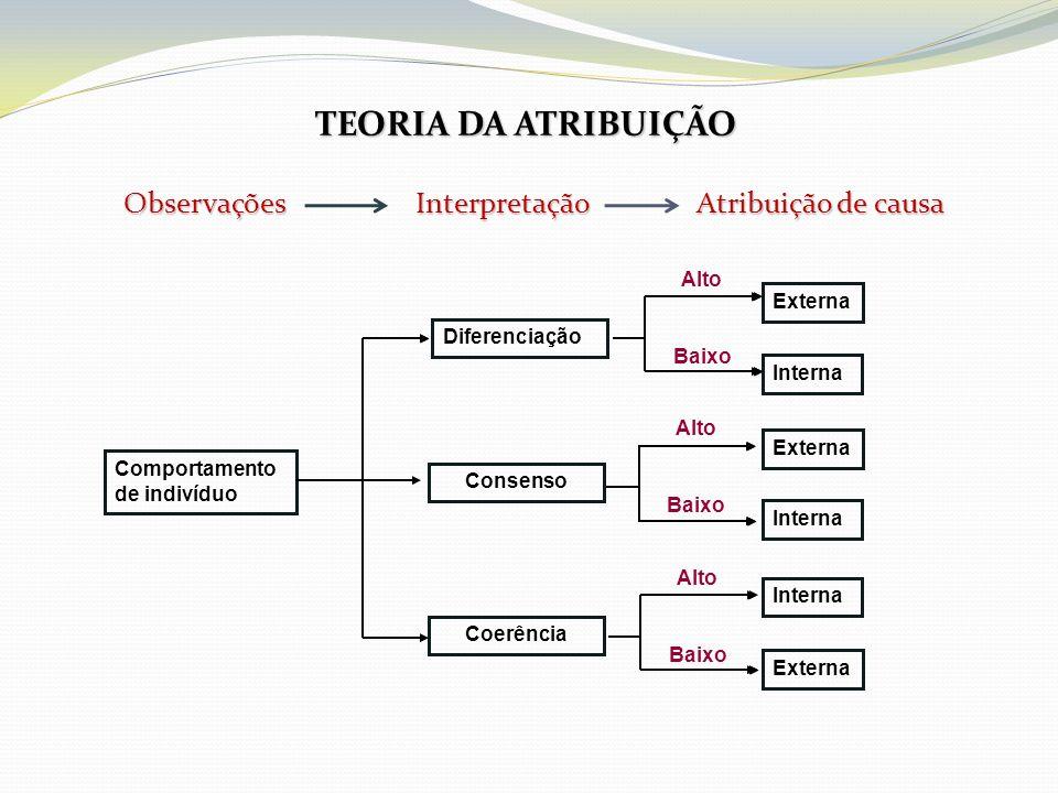 TEORIA DA ATRIBUIÇÃO Observações Interpretação Atribuição de causa