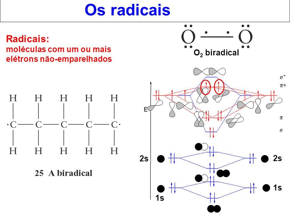Os radicais Radicais: moléculas com um ou mais elétrons não-emparelhados. O2 biradical. 2s. 2s.