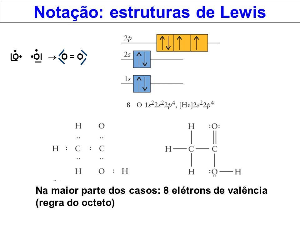 Notação: estruturas de Lewis