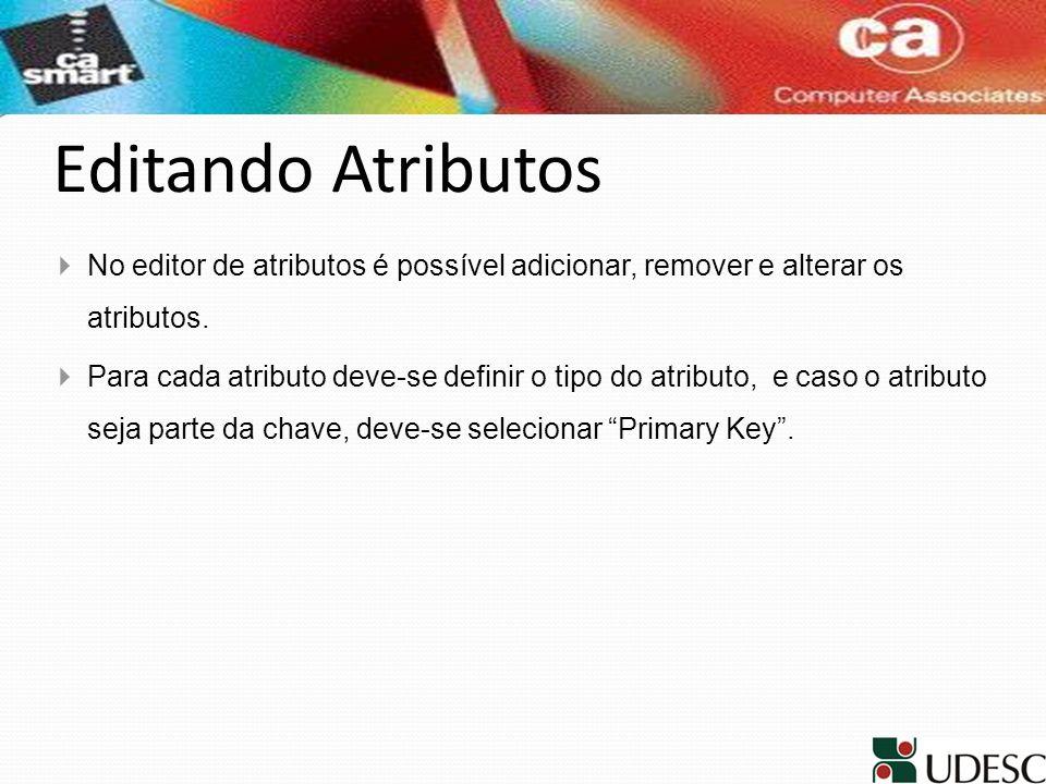 Editando Atributos No editor de atributos é possível adicionar, remover e alterar os atributos.