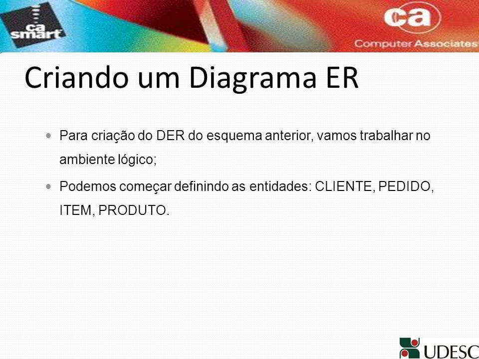 Criando um Diagrama ERPara criação do DER do esquema anterior, vamos trabalhar no ambiente lógico;