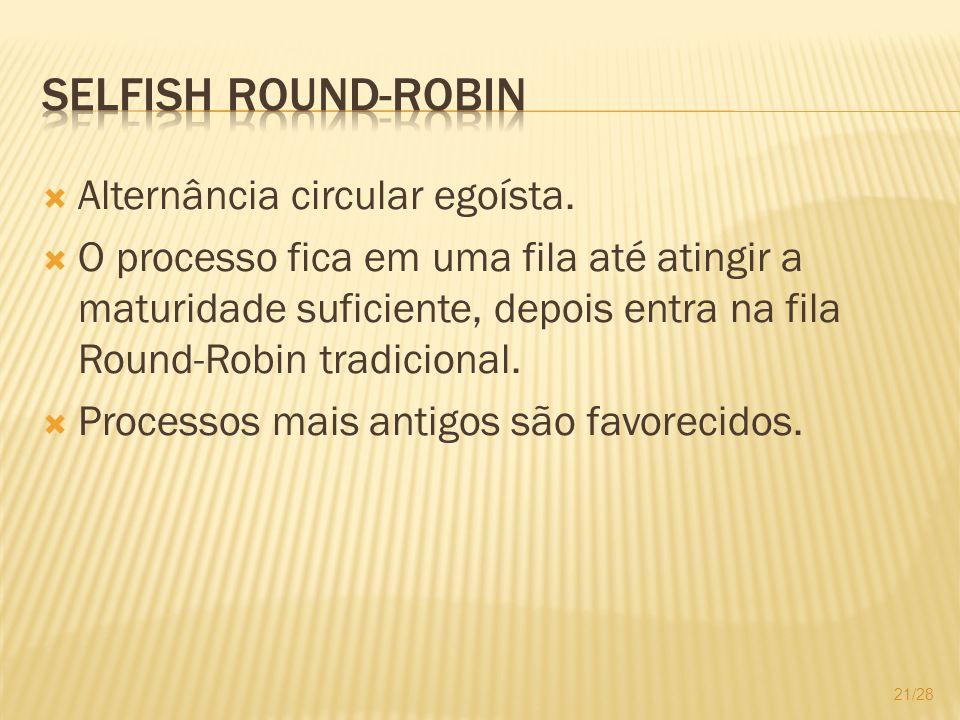 Selfish Round-Robin Alternância circular egoísta.