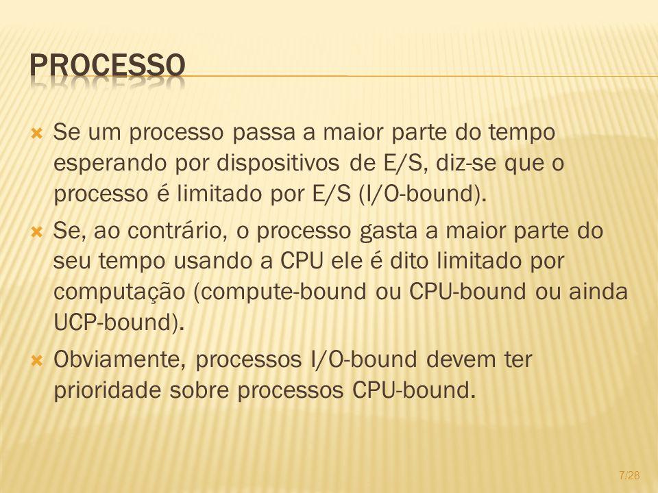 Processo Se um processo passa a maior parte do tempo esperando por dispositivos de E/S, diz-se que o processo é limitado por E/S (I/O-bound).