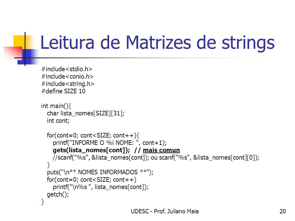 Leitura de Matrizes de strings
