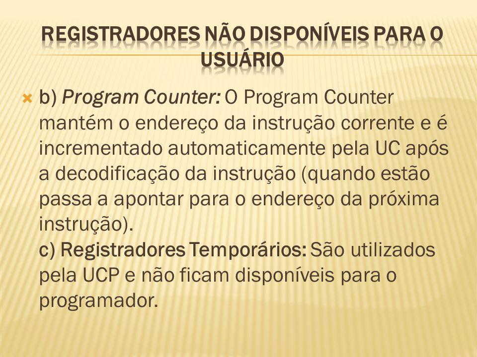 Registradores não disponíveis para o usuário