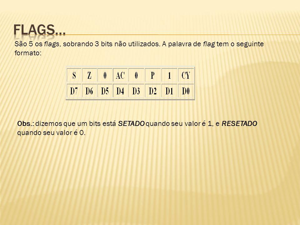 Flags... São 5 os flags, sobrando 3 bits não utilizados. A palavra de flag tem o seguinte formato: