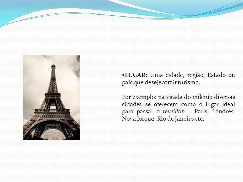 LUGAR: Uma cidade, região, Estado ou país que deseje atrair turismo.