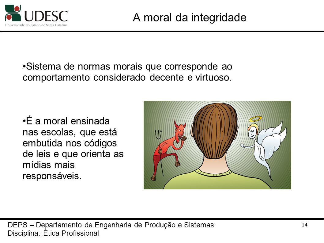 A moral da integridade Sistema de normas morais que corresponde ao comportamento considerado decente e virtuoso.