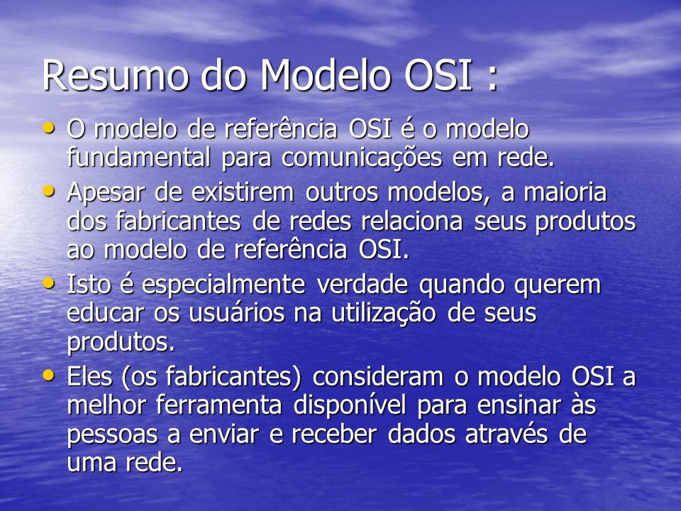 Resumo do Modelo OSI : O modelo de referência OSI é o modelo fundamental para comunicações em rede.
