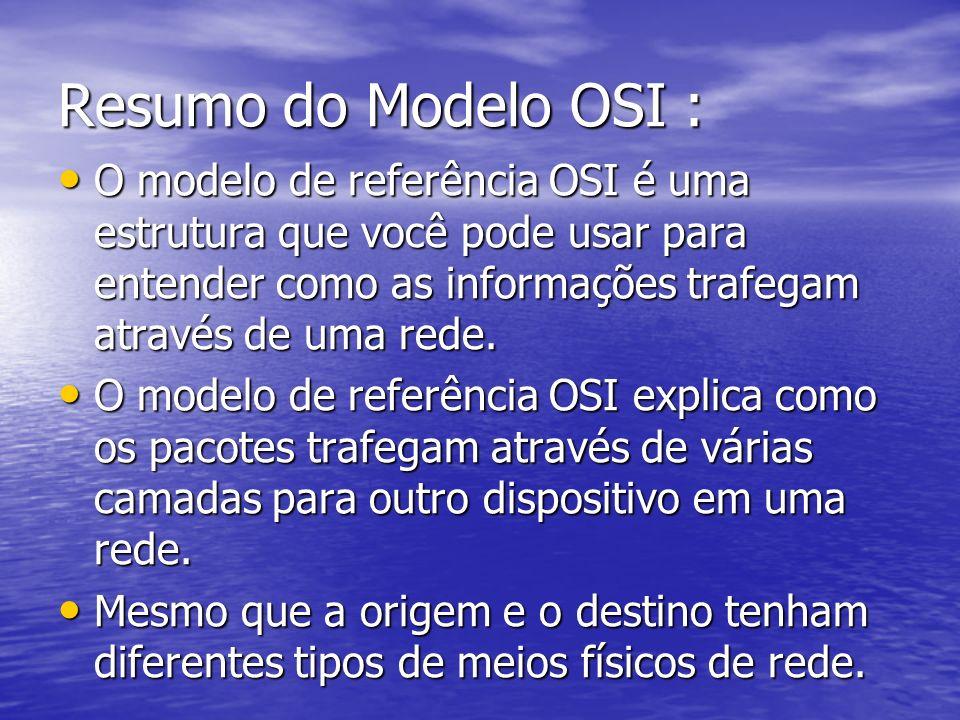 Resumo do Modelo OSI : O modelo de referência OSI é uma estrutura que você pode usar para entender como as informações trafegam através de uma rede.