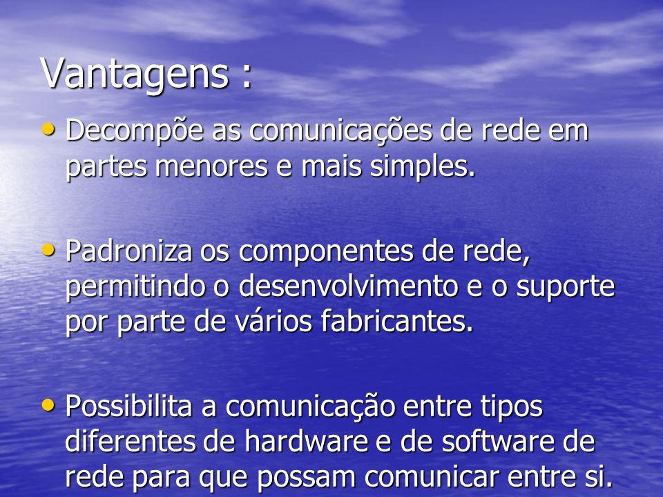 Vantagens : Decompõe as comunicações de rede em partes menores e mais simples.