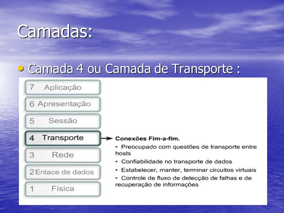 Camadas: Camada 4 ou Camada de Transporte :