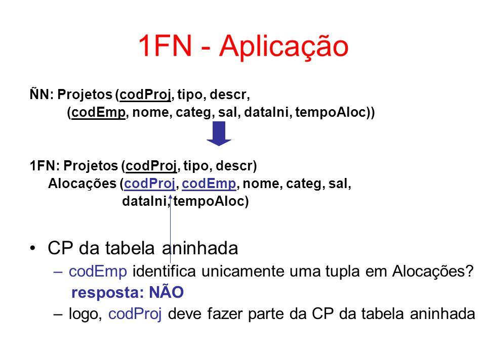 1FN - Aplicação CP da tabela aninhada