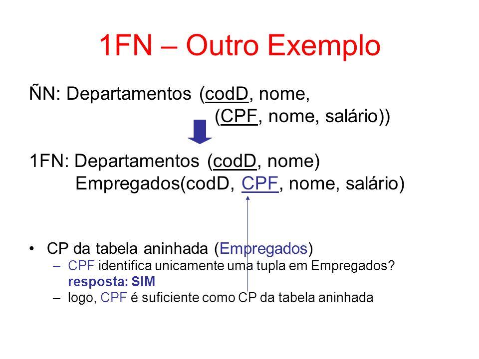1FN – Outro Exemplo ÑN: Departamentos (codD, nome,