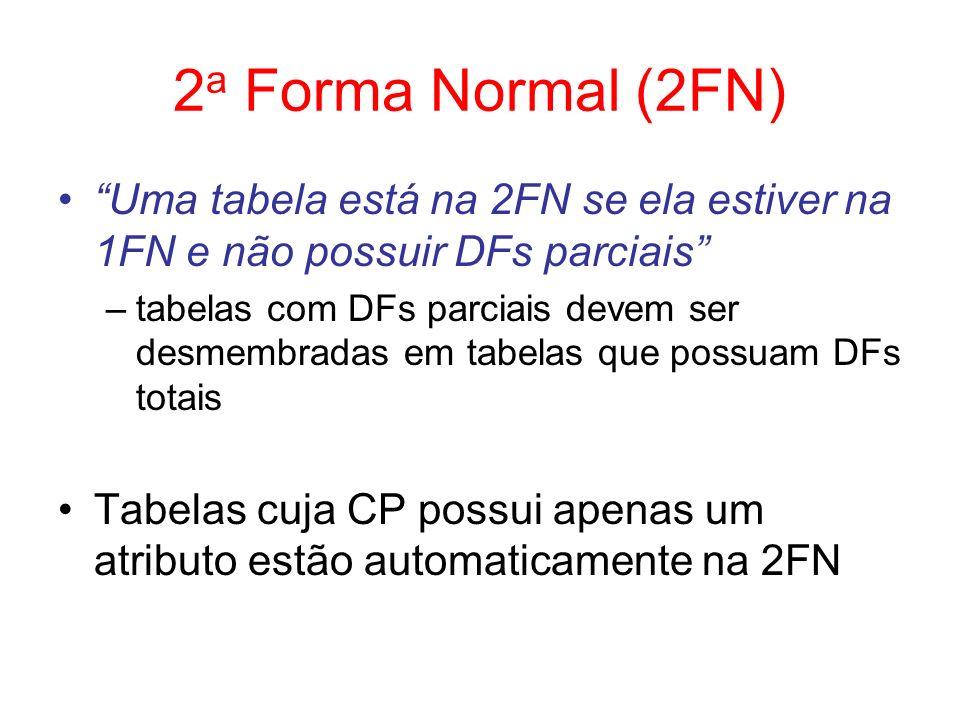 2a Forma Normal (2FN) Uma tabela está na 2FN se ela estiver na 1FN e não possuir DFs parciais