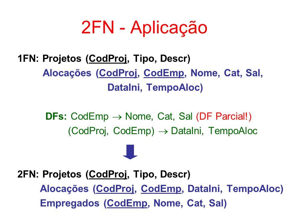 2FN - Aplicação 1FN: Projetos (CodProj, Tipo, Descr)