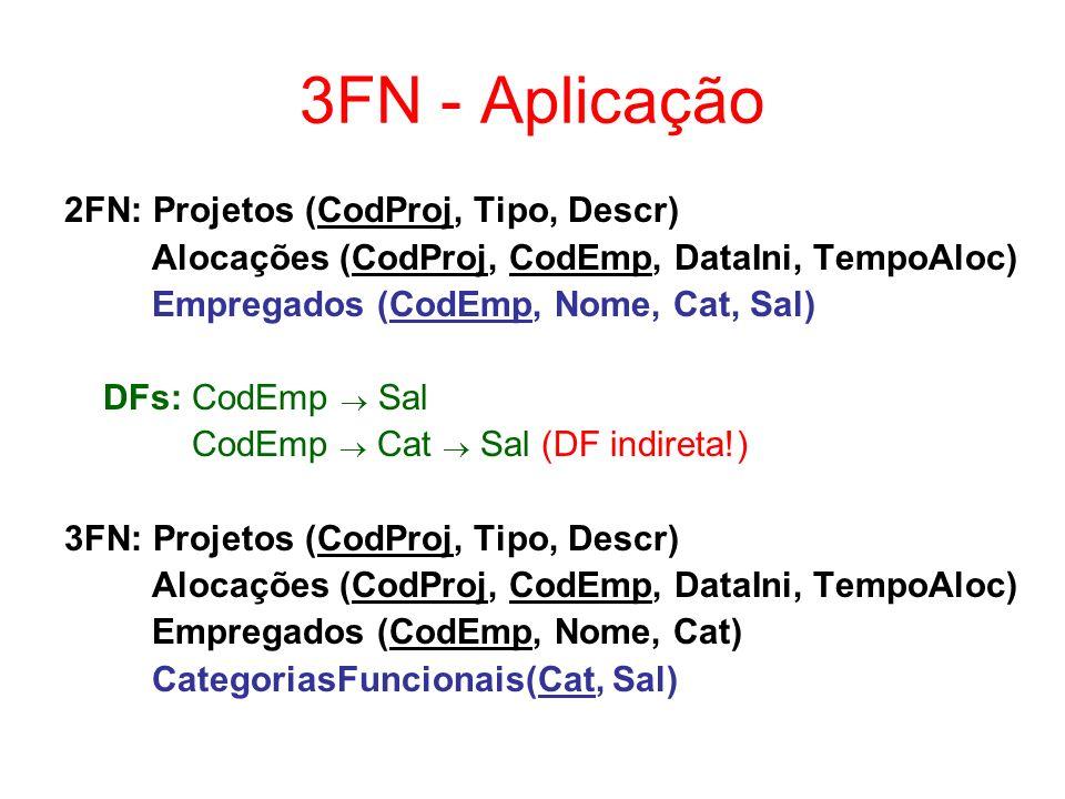 3FN - Aplicação 2FN: Projetos (CodProj, Tipo, Descr)