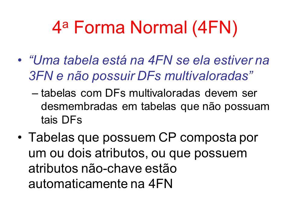 4a Forma Normal (4FN) Uma tabela está na 4FN se ela estiver na 3FN e não possuir DFs multivaloradas