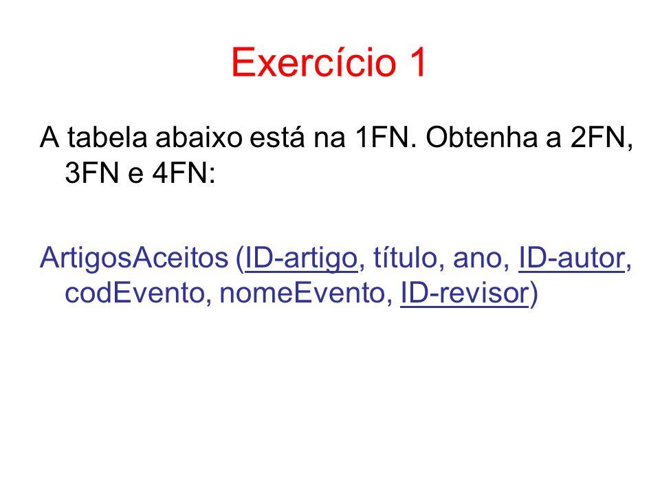 Exercício 1 A tabela abaixo está na 1FN. Obtenha a 2FN, 3FN e 4FN: