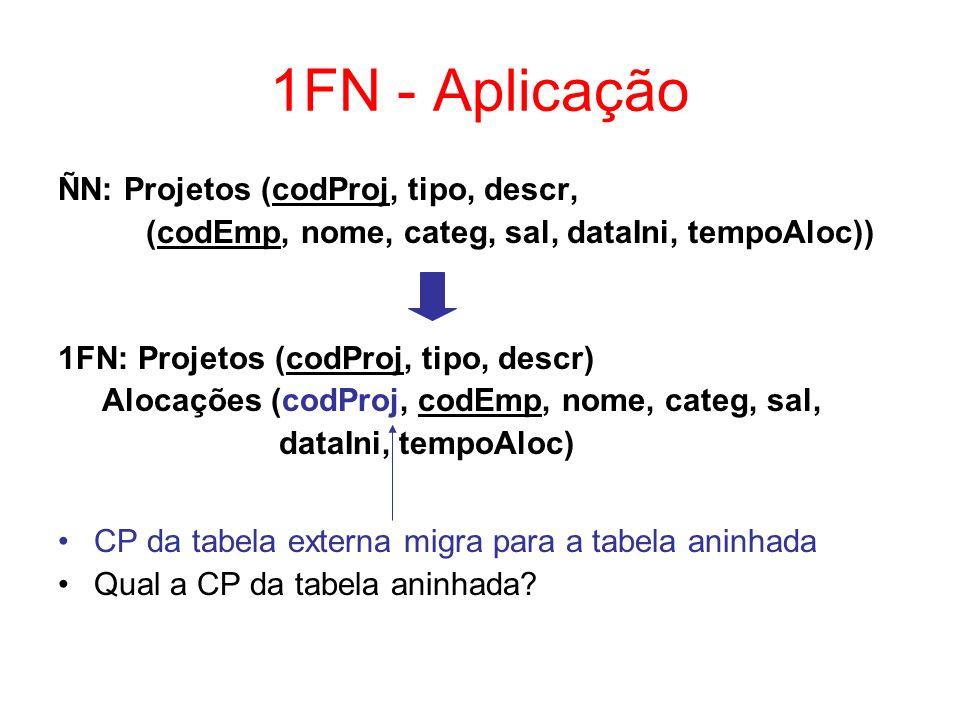1FN - Aplicação ÑN: Projetos (codProj, tipo, descr,