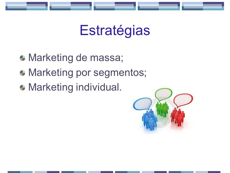 Estratégias Marketing de massa; Marketing por segmentos;